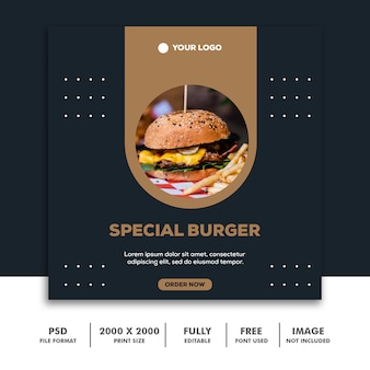 Modelo de publicação de mídia social banner quadrado para instagram, restaurante comida limpa elegante moderno hambúrguer de ouro