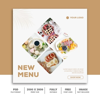 Modelo de publicação de mídia social banner quadrado para instagram, restaurante comida limpa elegante moderno ouro branco glamour