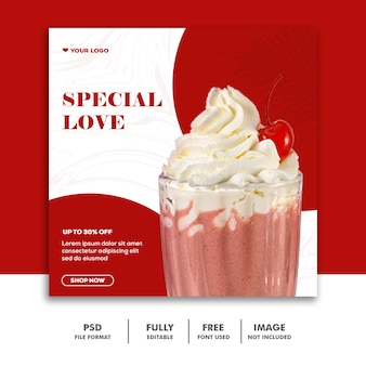 Modelo de publicação de mídia social instagram, comida milskhake valentine