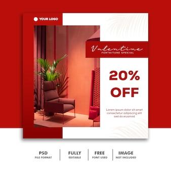 Modelo de publicação de mídia social instagram, furniture red