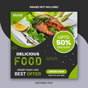 Modelo de publicação de mídias sociais de alimentos delicius