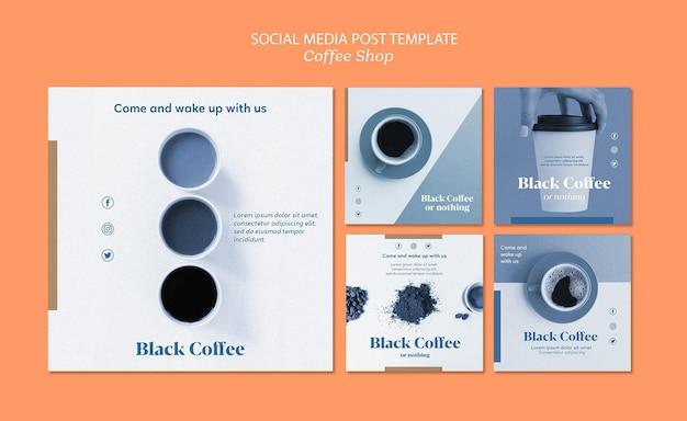 Modelo de publicação - mídia social de cafeteria