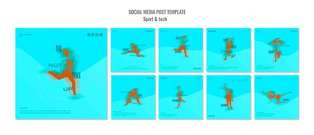 Modelo de publicação - mídia social de conceito de esporte e tecnologia