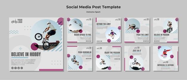 Modelo de publicação - mídia social de esportes radicais