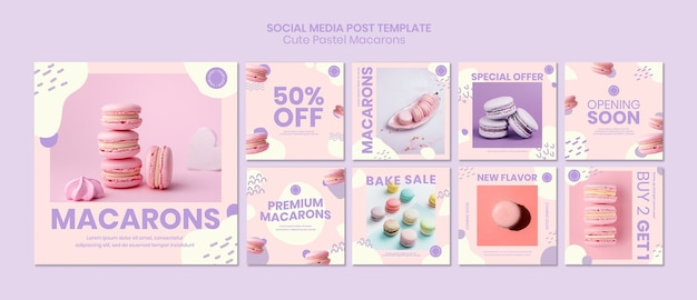 Modelo de publicação - mídia social de macarons