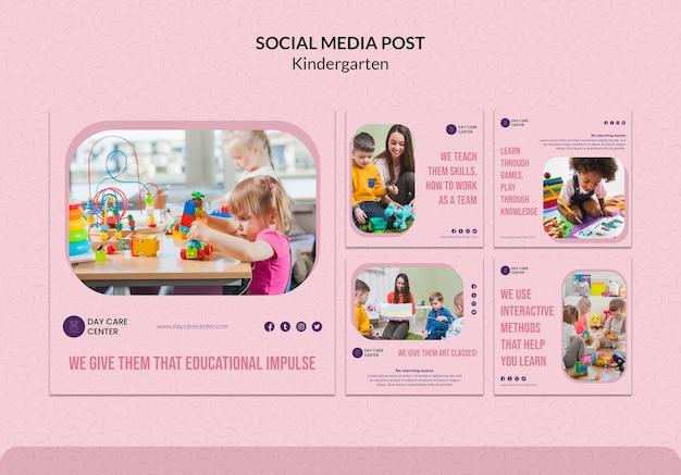 Modelo de publicação - mídia social do jardim de infância