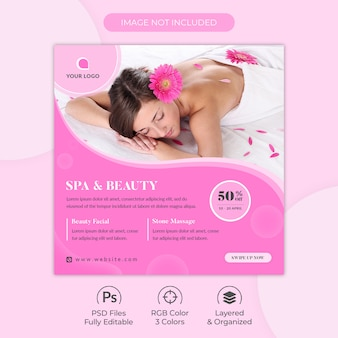 Modelo de publicação - mídias sociais do centro de salão de beleza e spa