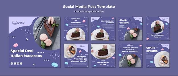 Modelo de publicação - mídias sociais do conceito macarons