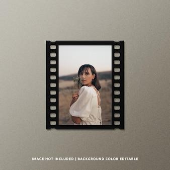 Modelo de quadro de filme de papel preto retrato