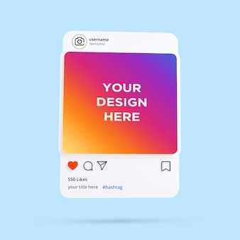 Modelo de quadro de instagram 3d maquete de postagem de mídia social