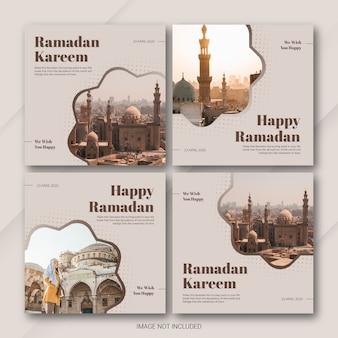 Modelo de ramadan kareem do pacote de postagem do instagram