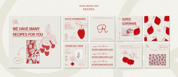 Modelo de receitas desenhadas à mão para postagem em mídia social
