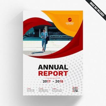 Modelo de relatório anual com formas onduladas vermelhas e amarelas