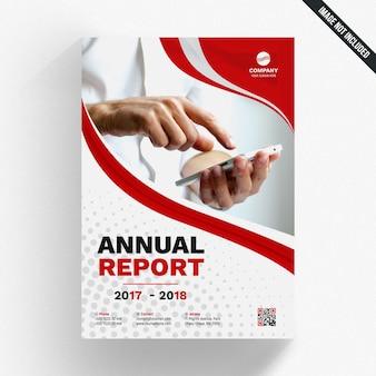 Modelo de relatório anual ondulado vermelho