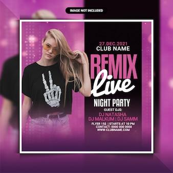Modelo de remix de panfleto de festa em boate ao vivo