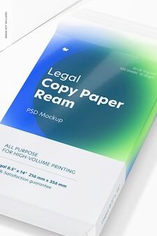Modelo de resma de papel de cópia legal, close-up