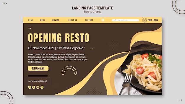 Modelo de restaurante de massas na página de destino