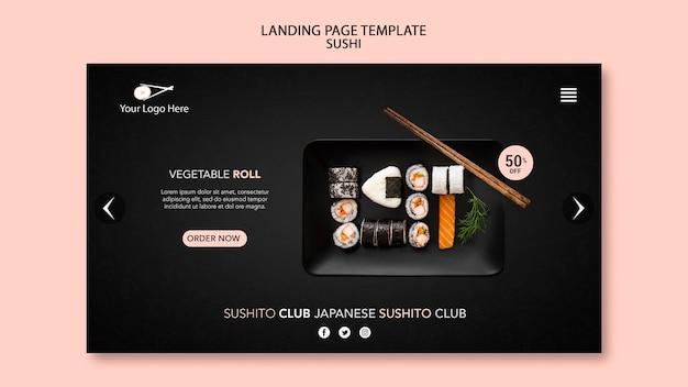 Modelo de restaurante de sushi da página de destino