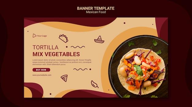 Modelo de restaurante mexicano de banner