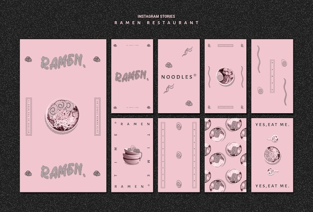 Modelo de restaurante para histórias do instagram de ramen