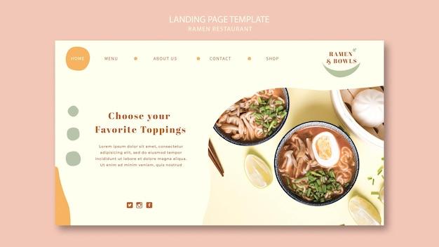 Modelo de restaurante ramen da página de destino