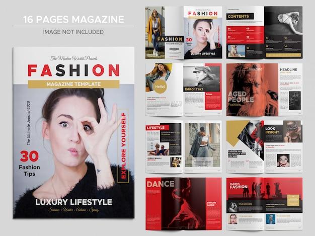 Modelo de revista de moda de 16 páginas