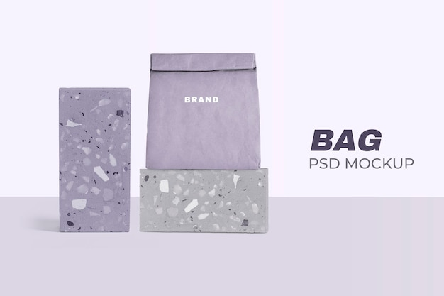 Modelo de saco de papel reutilizável psd enrolado em padrão terrazzo