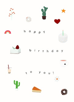Modelo de saudação de aniversário fofo psd com texto de feliz aniversário