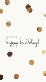 Modelo de saudação de aniversário online psd com confete dourado