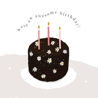 Modelo de saudação de aniversário online psd com ilustração de bolo fofo