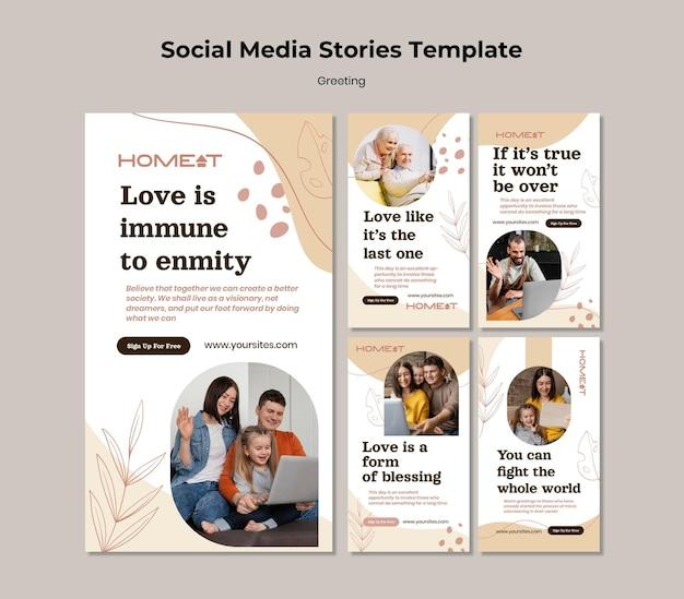 Modelo de saudação de histórias de mídia social