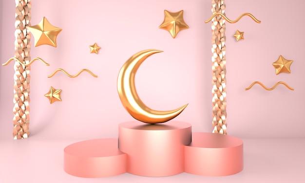Modelo de saudação ramadan kareem com desenho de lua