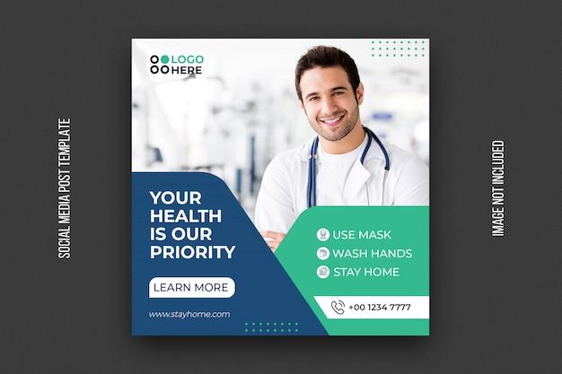 Modelo de saúde médico para instagram post