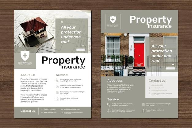 Modelo de seguro de propriedade psd com conjunto de texto editável