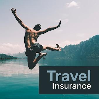 Modelo de seguro de viagem psd para mídia social com texto editável