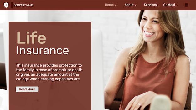 Modelo de seguro de vida psd com texto editável