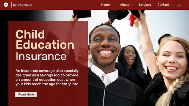 Modelo de seguro educacional psd com texto editável