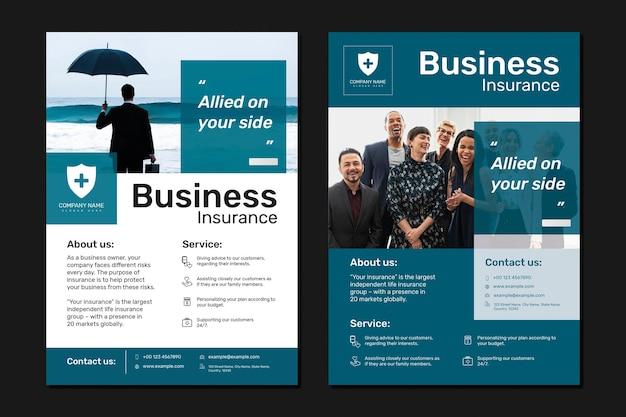 Modelo de seguro empresarial psd com conjunto de texto editável
