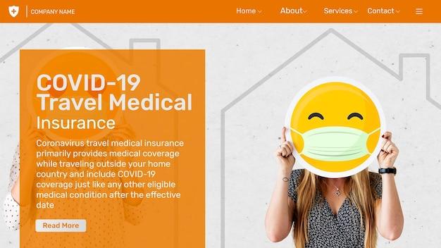 Modelo de seguro médico de viagem psd com texto editável