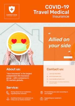 Modelo de seguro médico de viagem psd para pôster com texto editável