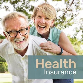 Modelo de seguro saúde psd para mídia social com texto editável