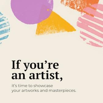 Modelo de showcase de arte psd com carimbo de tinta colorida