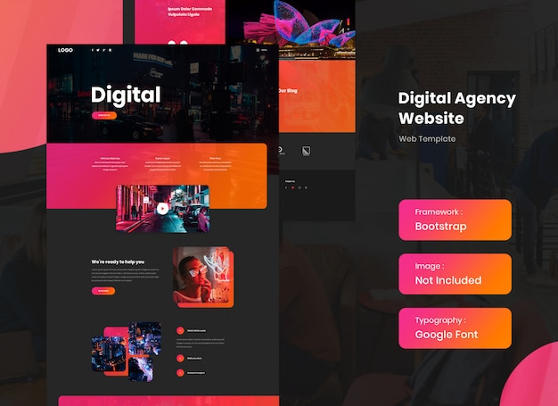 Modelo de site de agência de marketing digital em modo escuro