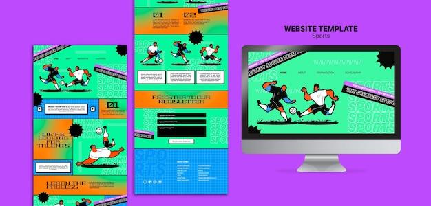 Modelo de site de futebol com ilustração vibrante