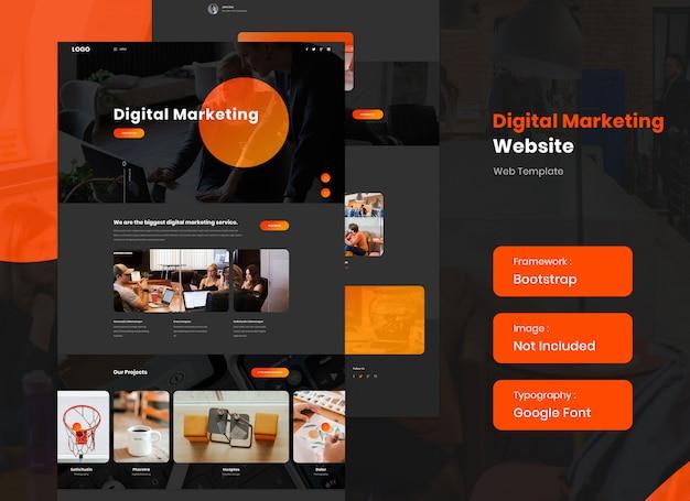 Modelo de site de marketing digital em modo escuro