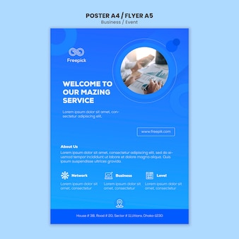 Modelo de site de mídia social para flyer