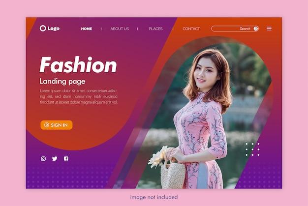Modelo de site de moda página de destino