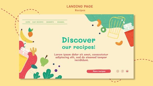 Modelo de site de receitas da página de destino