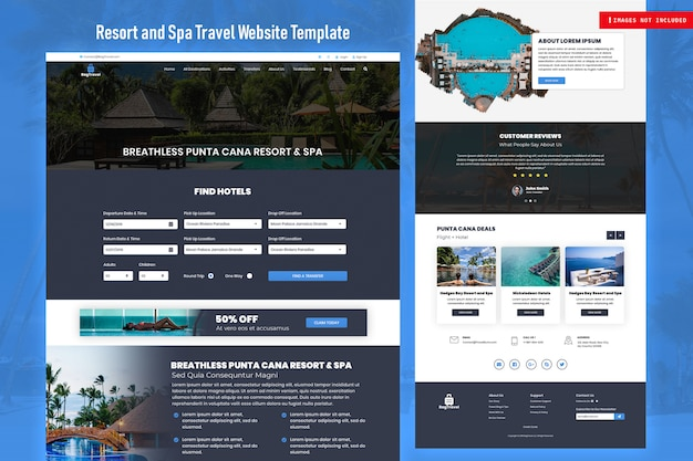 Modelo de site de viagens de resort e spa