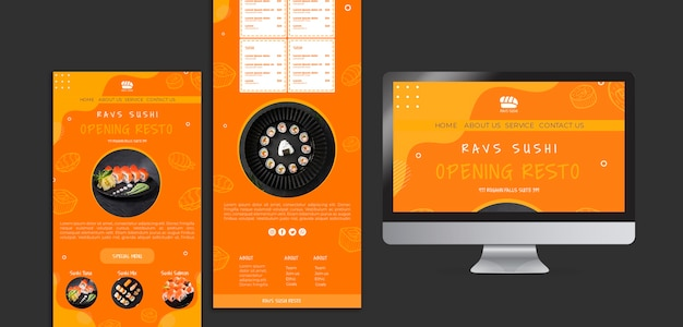 Modelo de site para restaurante de sushi